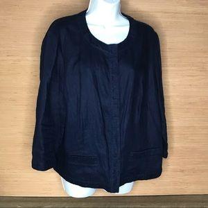 Chico's linen navy blue blazer top